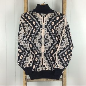 VTG 80's Oversize Turtleneck Tribal Ethnic Sweater